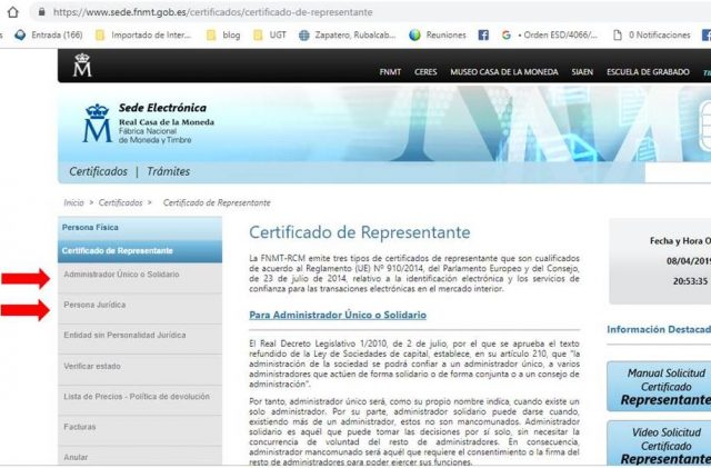 certificado digital representante